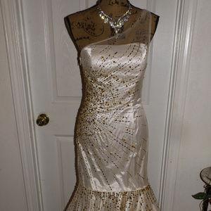 White Beaded EUREKA Pagaent/Prom Dress